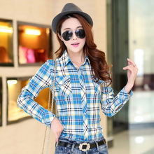New Women Autumn Long Sleeve Blouse Spring Plaid Classic Solid Cotton Shirt Casual Female Flannel Fashion Blouses Plus Size Tops(China)