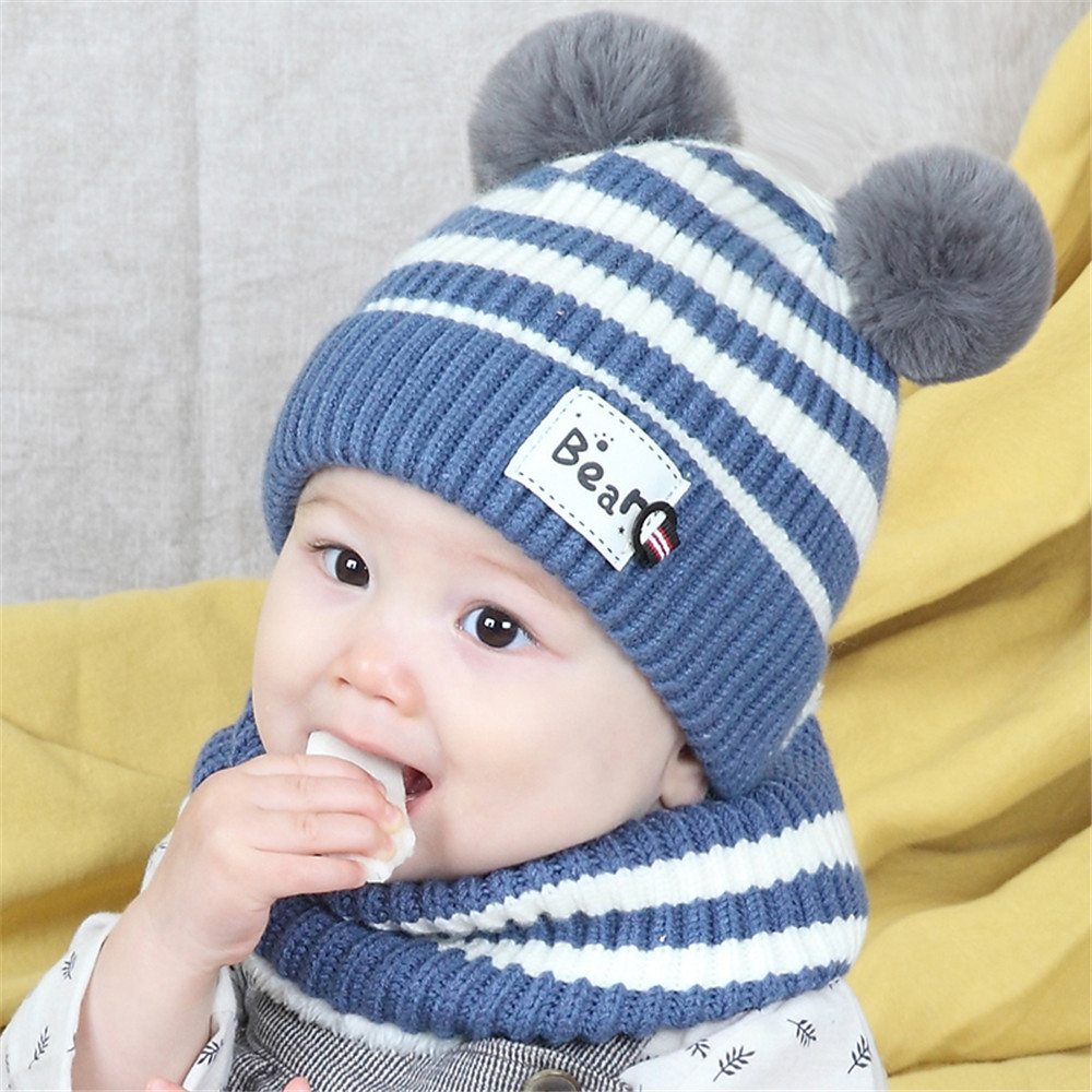 Winter 2-Pieces Unisex Children Winter Warm Baby Scarf Cap Wool Knit Hat Scarf, Hat & Glove Sets  Accessories For Girls Boys Kid