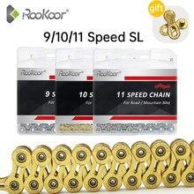 Chaîne de vélo Rookoor 9 10 11 vitesses Velocidade titane plaqué TI or argent VTT de route vtt SL chaînes creuses 116 liens