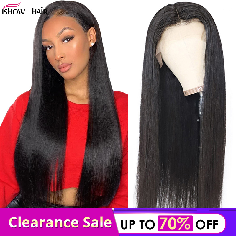 Ishow Straight 4*4 Lace Closure Human Hair Wigs  Remy Peruvian Human Hair Lace Wigs 150% Density Straight Lace Frontal Wig