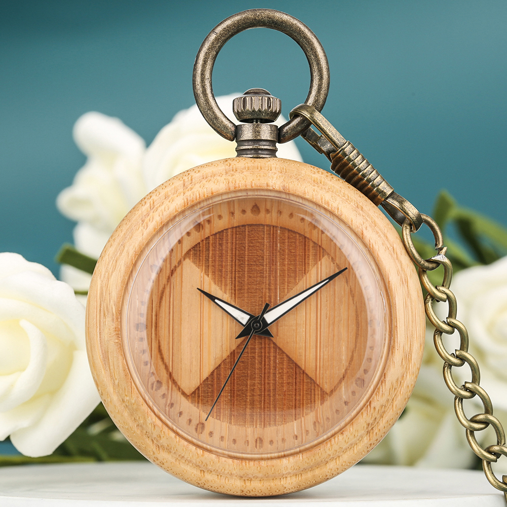 Quartz Pocket Watch Lightweight Luminous Dial Wooden Pocket Watch Analog Display Hanging Broze Chain Pendant Clock Men Women