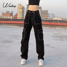 Weekeep tasche Patchwork Jeans larghi moda Streetwear 100% cotone donna pantaloni Denim pantaloni Cargo larghi Jeans coreani Harajuku