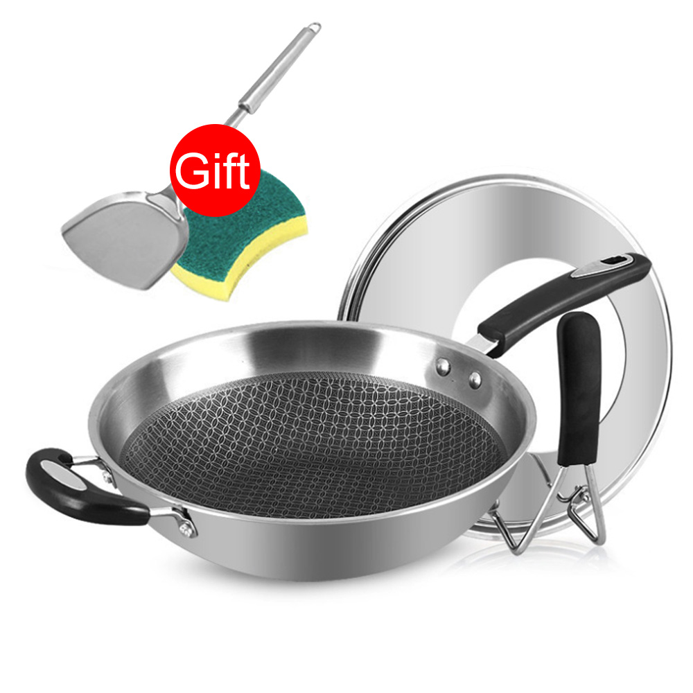 34cm 304 Stainless Steel Frying Pan Smokeless Wok Spatula Food Kitchen Fried Egg Honeycomb Non Stick Wok Cookware Uncoated Pot - 3