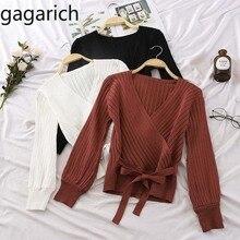 Gagarich, женский свитер, осень 2020, новый стиль, однотонный, с длинным рукавом, поясом, V образным вырезом, трикотажный, Модный женский свитер для зимыВодолазки    АлиЭкспресс