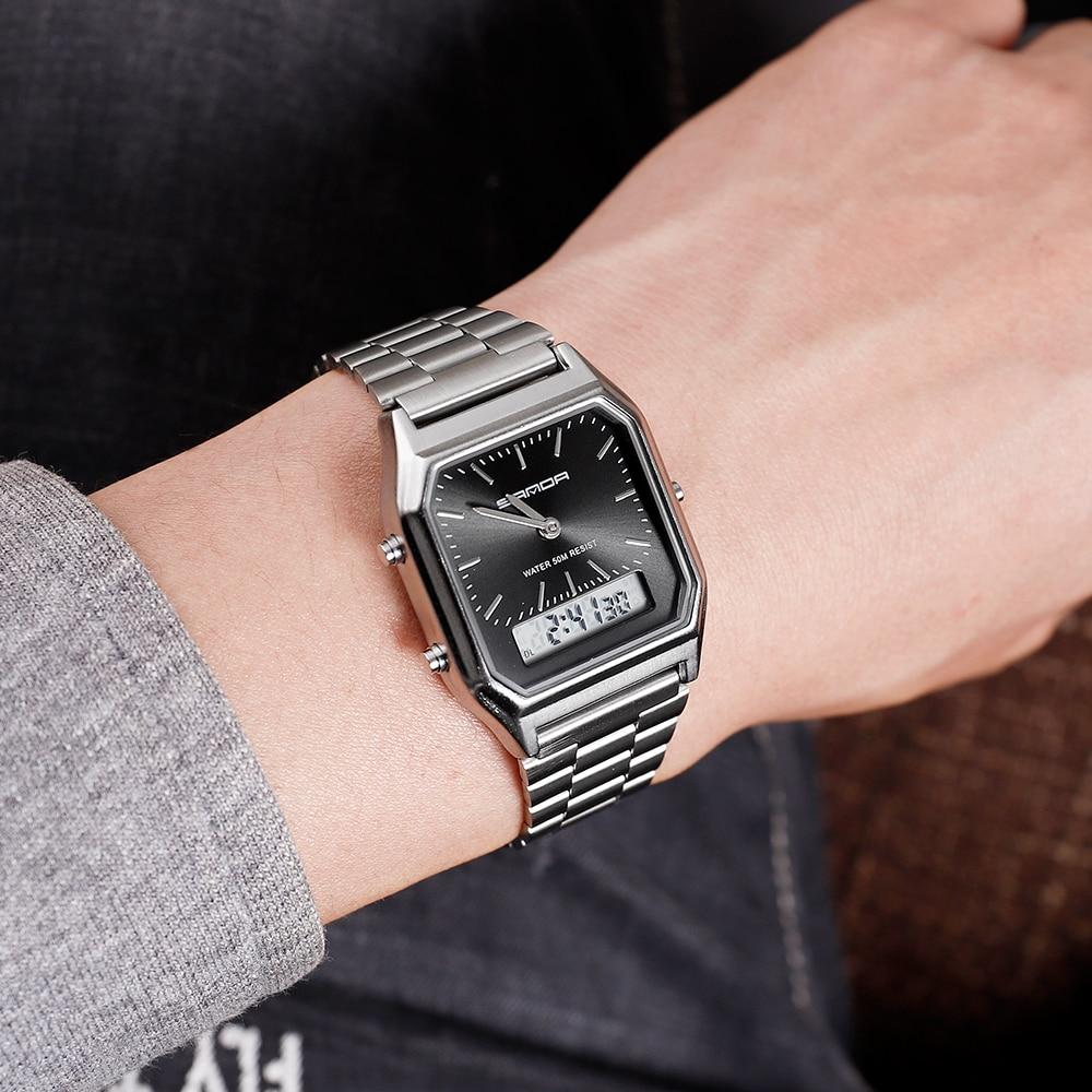 Sanda роскошные мужские черные часы из нержавеющей стали женские
