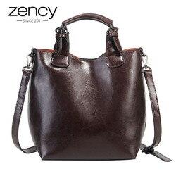 Zency 100% натуральная кожа сумка ретро кофе Женская Повседневная сумка-мешок классическая черная женская сумка через плечо