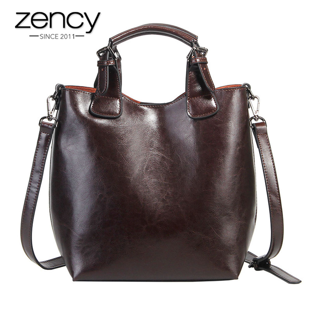 Zency 100% Genuine Leather Handbag Retro Coffee Women Casual Tote Bucket Bag Classic Black Lady Crossbody Messenger Purse