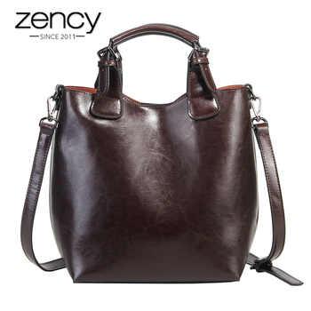 Zency 100% Genuine Leather Handbag Retro Coffee Women Casual Tote Bucket Bag Classic Black Lady Crossbody Messenger Purse - DISCOUNT ITEM  51% OFF All Category