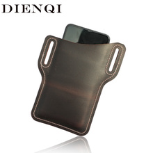 DIENQI Genuine Leather Mini Men Waist Belt Bag Cell Phone Chest Bag Running Male Fanny Pack Personal Pocket Hand Bag Beltbag