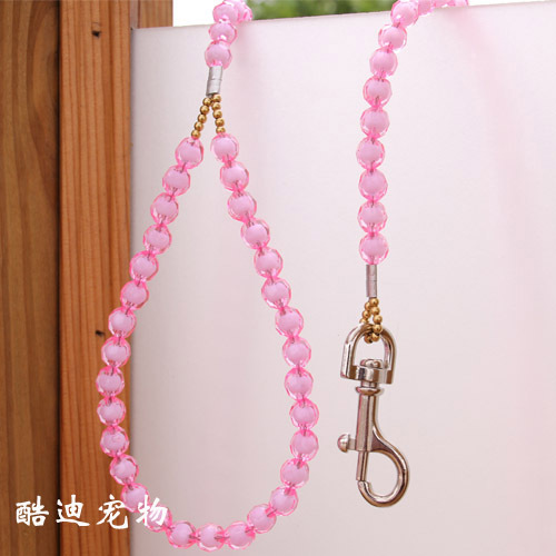 Small Pet Traction Rope Dog Chain Dog Traction Rope Beads Traction Belt Steel Wire Traction Belt