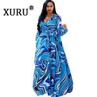 XURU chiffon druck kleid strand große größe kleid S-5XL frauen lange ärmel V-ausschnitt beiläufige lose kleid
