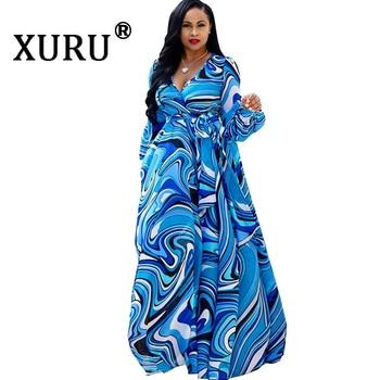 XURU chiffon print dress beach large size dress S-5XL women's long sleeve V-neck casual loose dress цена 2017