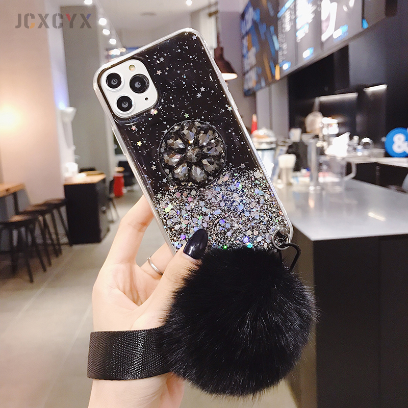 H0af2540da5a64ec8a6933cde92d011321 Luxury diamond cute hair ball lanyard bracket soft case for iphone 7 X XR XS 11 pro MAX 8 6S plus for samsung S10 S8 S9 Note A50