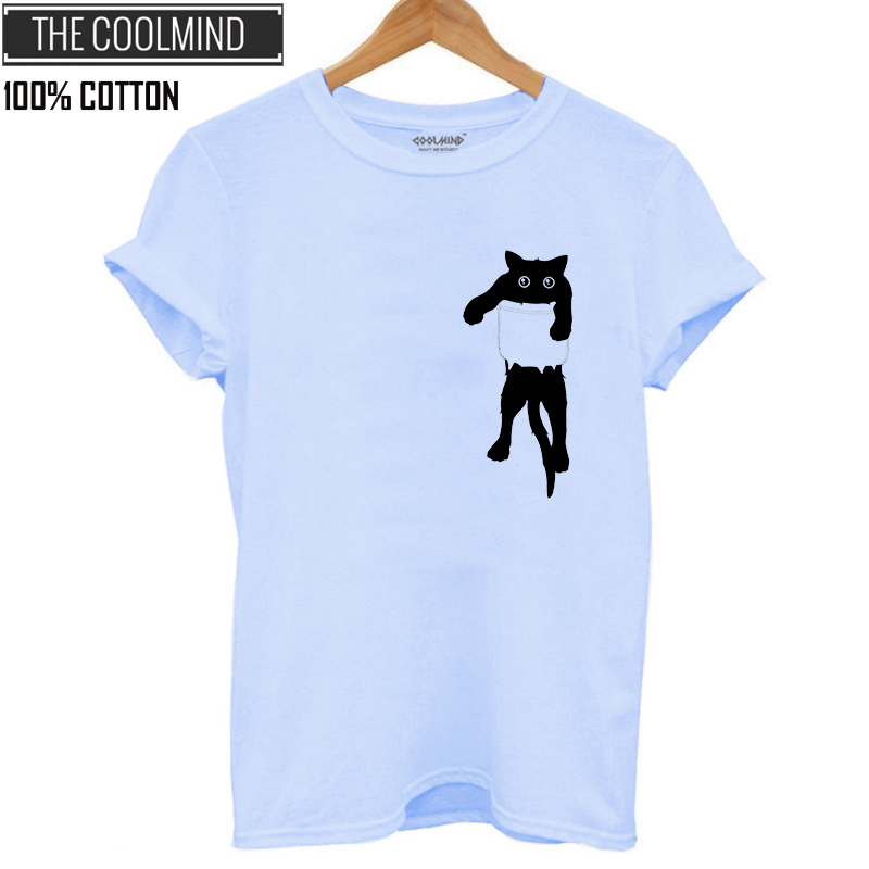 H0af255f8ba9a4363b37989b50122d95cV - cosmic string 100% cotton cat print women T shirt casual short sleeve Tshirt female o-neck loose women t-shirt tops tee shirt