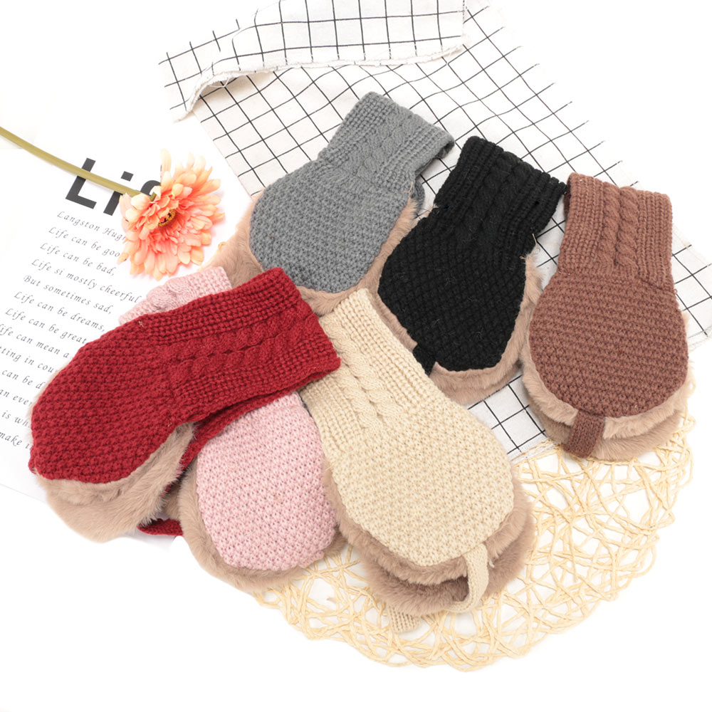 New Arrival Vintage Wool Ear Covers Cute Tie Warm Knitted Autumn Winter Girls Head Wear Accessories Solid Color Earmuffs