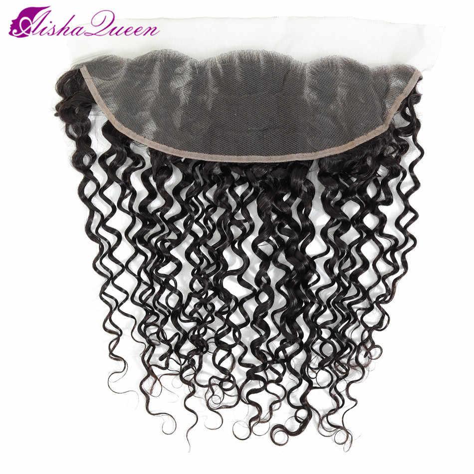 """Aisha Queen no Remy brasileño rizado cabello humano cierre Frontal de encaje 13*4 Color Natural 8 """"-22"""" envío gratis"""