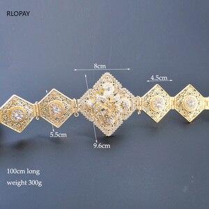 Image 5 - RLOPAY New Moroccan Fashion Kaftan Belts Crystal Grown Belts for Women Arabic Gold Waist Chain