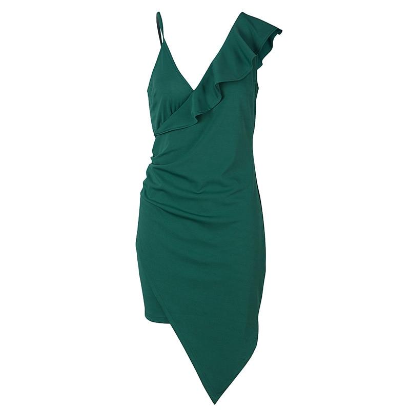 Female banquet dress 2021 sexy solid color v-neck ruffled skinny dress summer fashion elegant high-end club summer dress 6