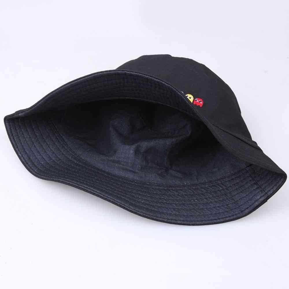 Pac-man imprimé unisexe en plein air voyage Bonnet crème solaire escalade montagne seau chapeau chapeaux casquette pêcheur gorras czapka casquettes CD