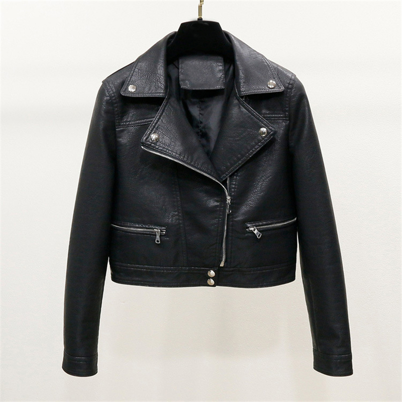 Leather   jacket women 2019 autumn new PU   leather   short section high waist wild slim Korean version of the motorcycle jacket B569