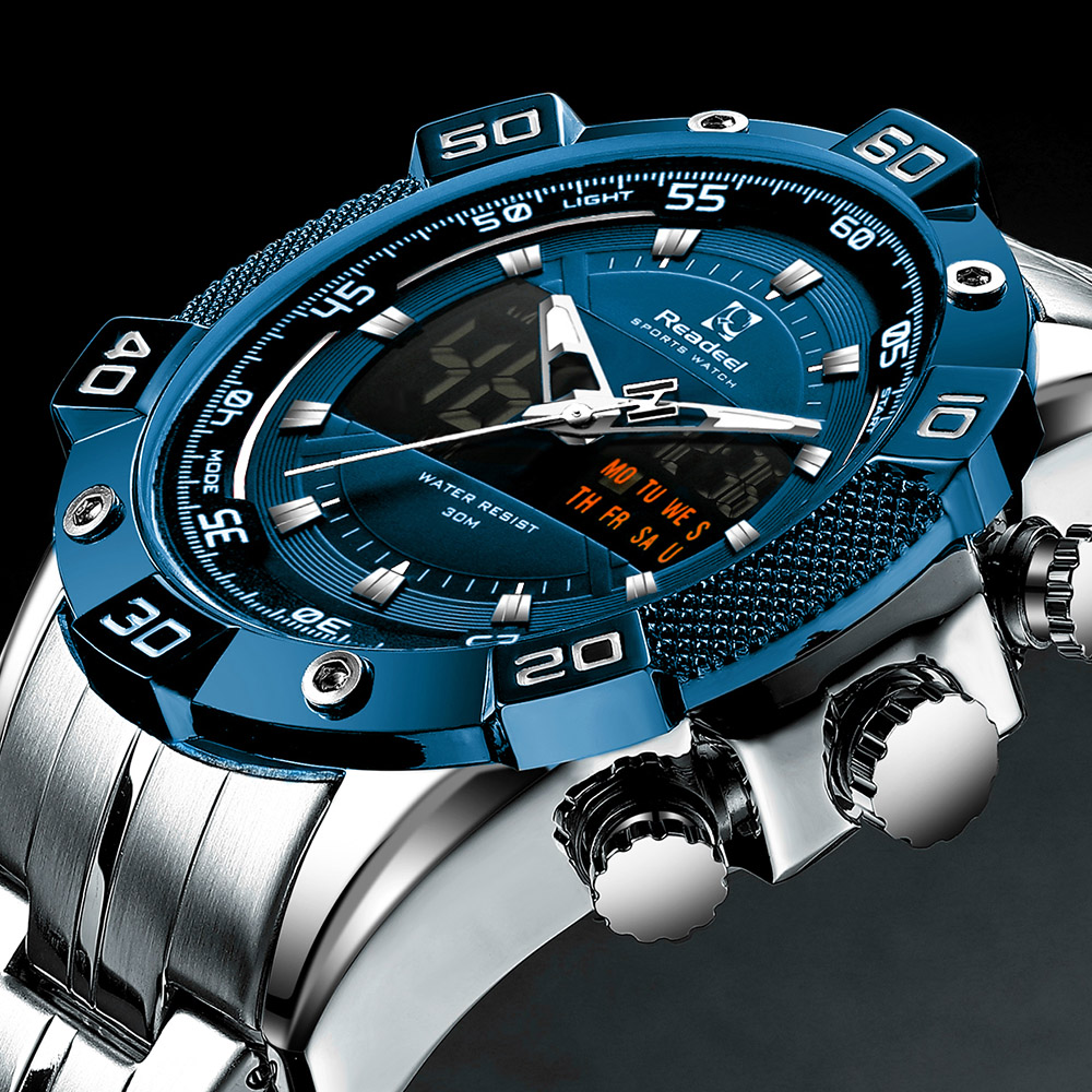 2020 Luxury Brand Waterproof Military Sport Watches Men Silver Steel Digital Quartz Analog Watch Clock Relogios Masculinos