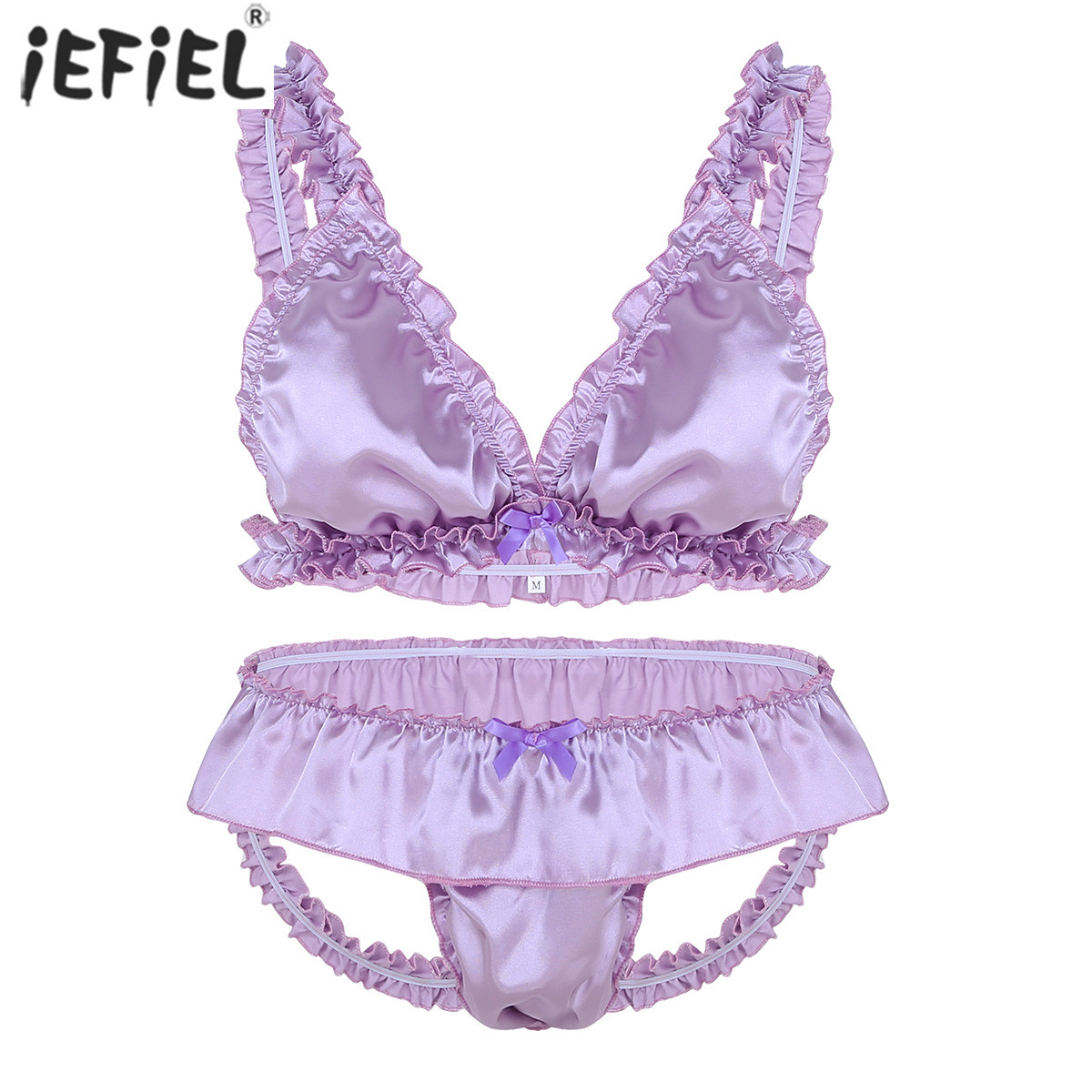 Mens Sissy <font><b>Lingerie</b></font> <font><b>Set</b></font> Soft Satin Elastic Frilly Ruffled Bowknot Bikini Bra Top Sexy <font><b>Gay</b></font> <font><b>Lingerie</b></font> <font><b>Set</b></font> with Open Back Underwear image