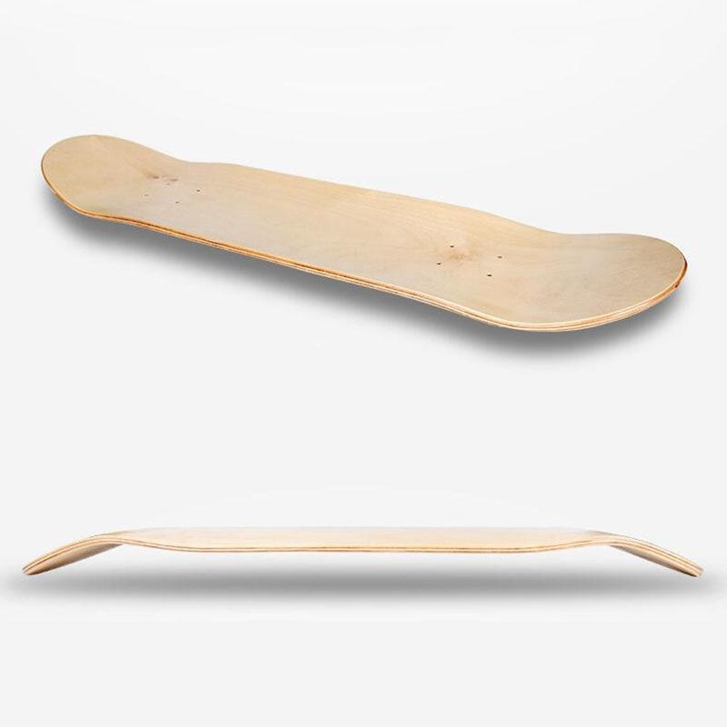 DIY 8inch 8-Layer Maple Blank Skateboard Double Concave Skateboards Deck Natural Wood Maple Longboard Douber Rocker Board