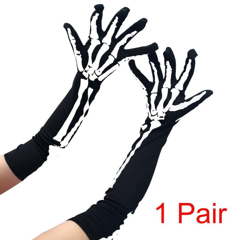 Hot Halloween Skeleton Long Gloves Unisex Halloween Costume Long Gloves Skull Ghost Claw Bone Skeleton Goth Racing Party Gloves