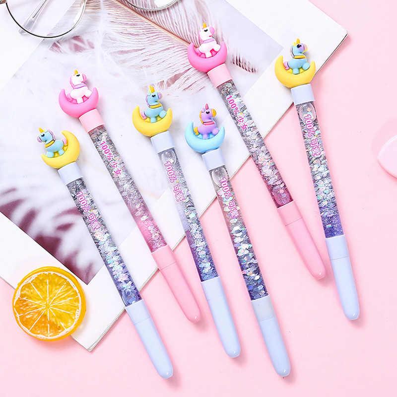 Lindo 0,5mm cuento de hadas stick unicornio bolígrafo de bola arena flash bolígrafo de Cristal Arco Iris color creativo bolígrafo niños regalo novedad statio