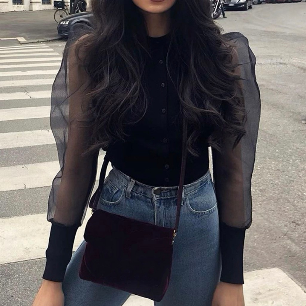 Sexy Women Blouse Shirt Casual Top Solid Mesh Patchwork Puff Sleeve Ruched Blouse Long Sleeve Blouse Office Ladies Costume #L20
