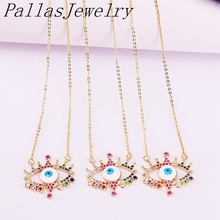 8Pcs New arrived Fashion Women Jewelry Colorful CZ Micro Paved Enamel Eyes Charm Pendant Necklaces