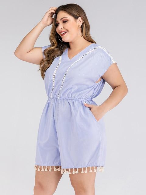2020 summer plus size jumpsuit for women large sleeveless loose casual lace stripe V neck short jumpsuits blue 4XL 5XL 6XL 7XL 2