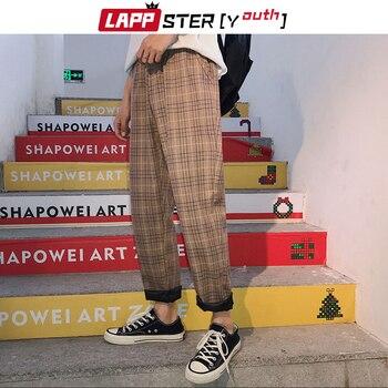 LAPPSTER-Youth Streetwear Black Plaid Pants Men Joggers 2020 Mens Straight Harem Pants Men Korean Hip Hop Trousers Plus Size 5