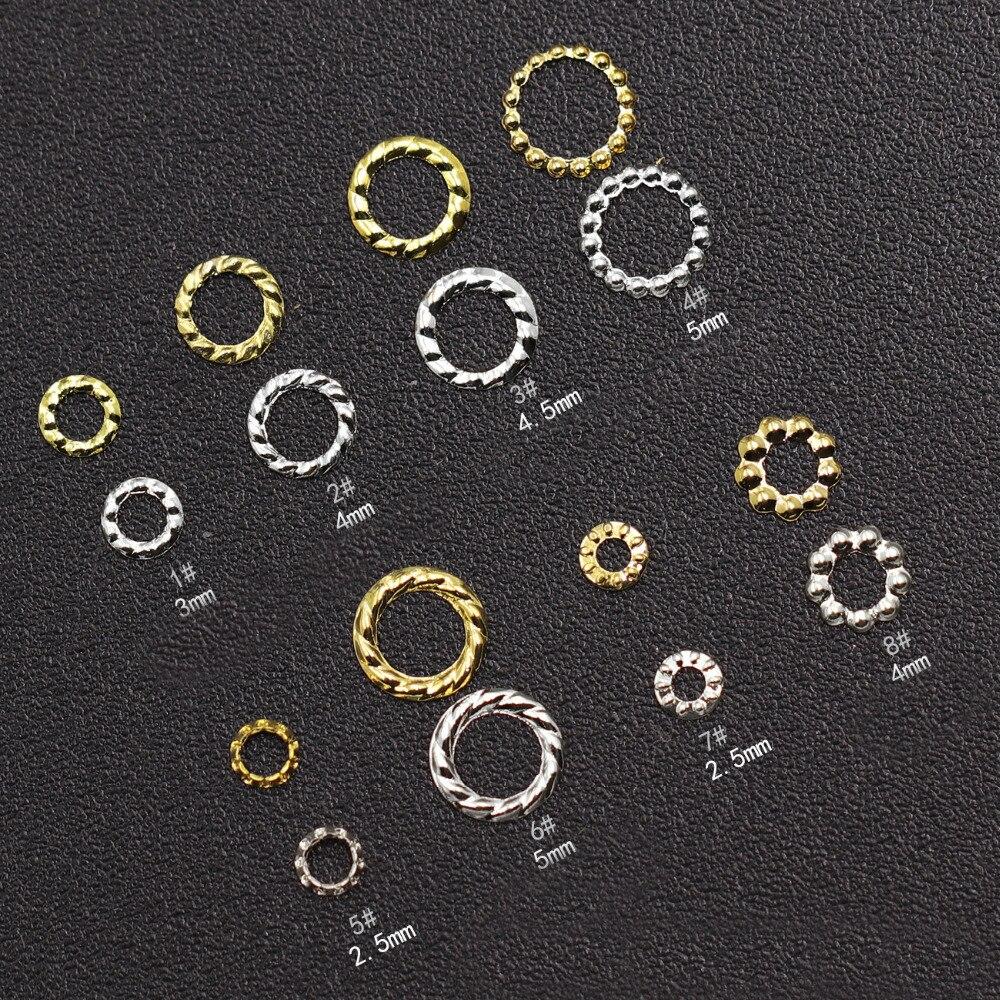 10000 pièces or argent creux chanvre couronne 3D Nail Art décorations anneau clou Rivet bricolage conseils bijoux à breloques accessoire en gros chaud