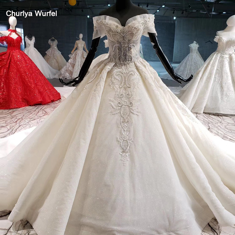 HTL1014 Off The Shoulder Wedding Dress Lebanon Sweetheart Beads Corset Lace Up Back Luxury Wedding Gowns Robe Mariee Princesse