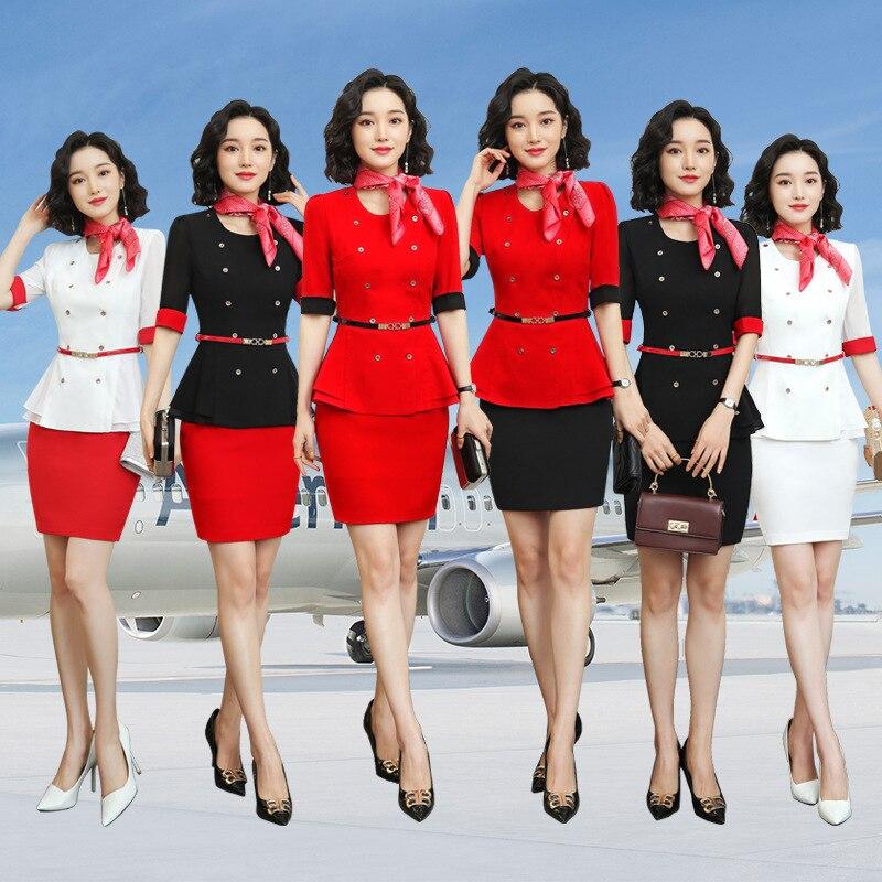 Summer 2020 New Style Stewardess Uniforms Business Suit Women's Elegant Ol Skirt Front Desk Beautician Work Clothes