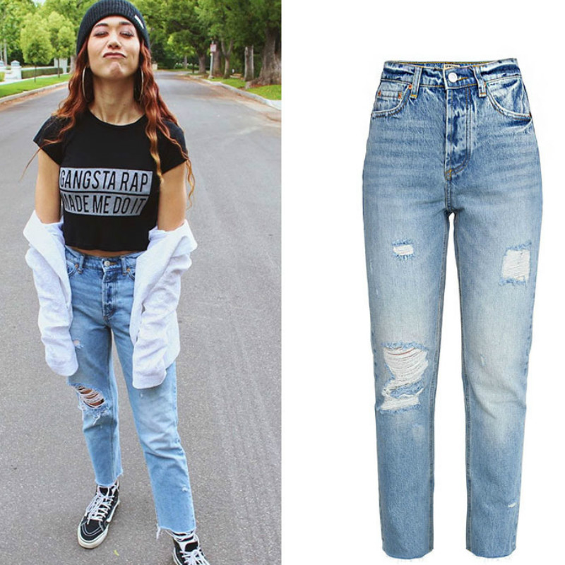Skinny Jeans Ankle-Length-Pants Ripped Blue Straight Casual Cotton Woman New-Fashion