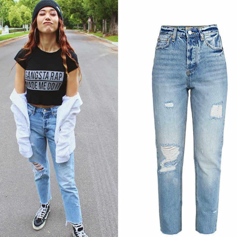 Pantalones Vaqueros Rectos De Cintura Alta Para Mujer 2020 Primavera Nuevos Desgastados Con Agujeros De Moda Pantalones A La Altura Del Tobillo Azul De Algodon Casual Juvenil Pantalones Vaqueros Aliexpress