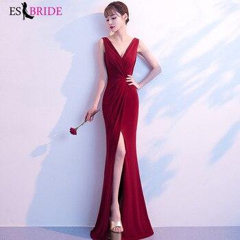 Sexy Navy Blue Evening Dresses Sexy V-neck Leg Slit Long Formal Party Gowns Abendkleider 2019 vestido de festa longo ES2868