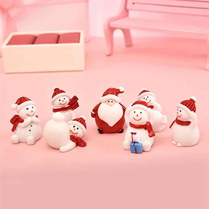 5/6/7 個セットミニチュアのクリスマスツリーサンタクロース雪だるまテラリウムアクセサリーギフト妖精ガーデン置物人形家の装飾