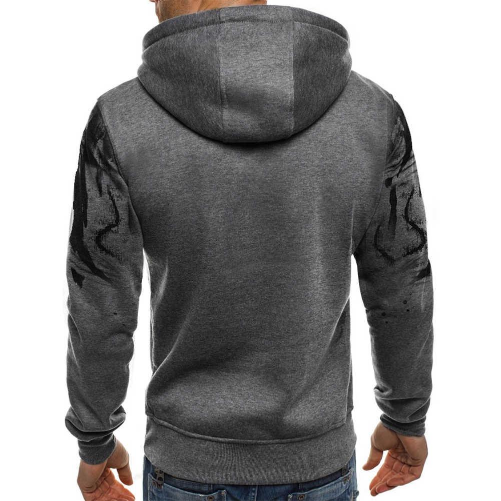 男性ファッション迷彩パーカー長袖巾着フード付きのスエットシャツトップ