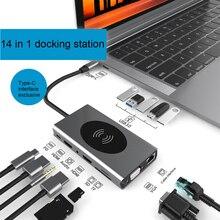 Тип C концентратор 14-в-1: HDMI RJ45 VGA тройной Дисплей usb-хаб 3,0 адаптер док-станция для MacBook Pro устройство для чтения карт USB разветвитель USB C концент...