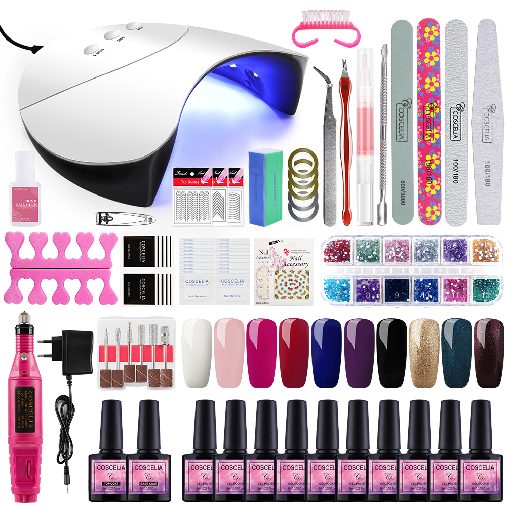 Gel Polish Nail Art Manicure Tools Kit UV LED Nail Lamp Dryer Colors Gel Nail Polish DIY Tools Nail Set Kit Gel Varnish Set