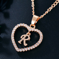Womens Jewelry Name Initials Heart Pendant Necklace 26 Letters Zircon Love Necklaces Girls Gifts the First Letter Accessories 6