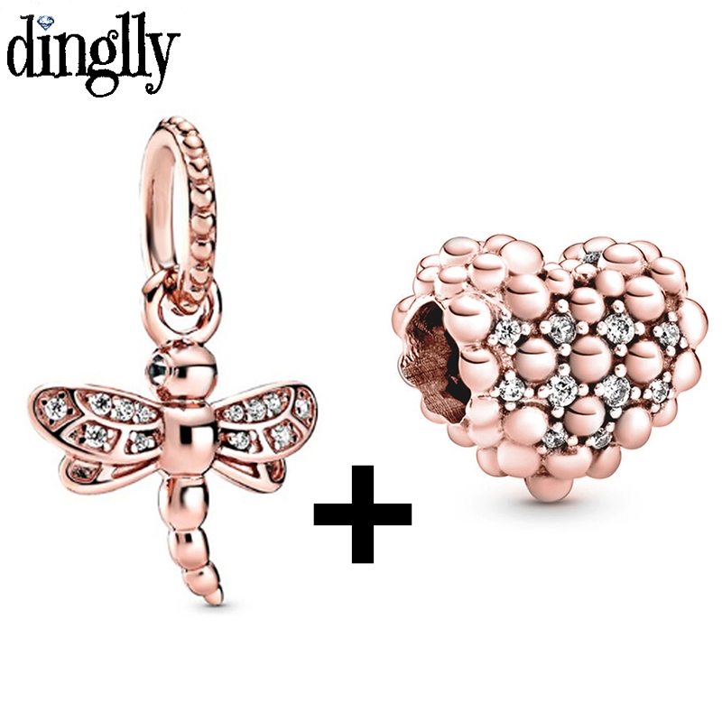 Dinglly 2pcs Rose Gold Bead Link Hreat Beaded Dragonfly Charm Fit Original Brands Bracelet Necklace Diy Women Jewelry Gift(China)