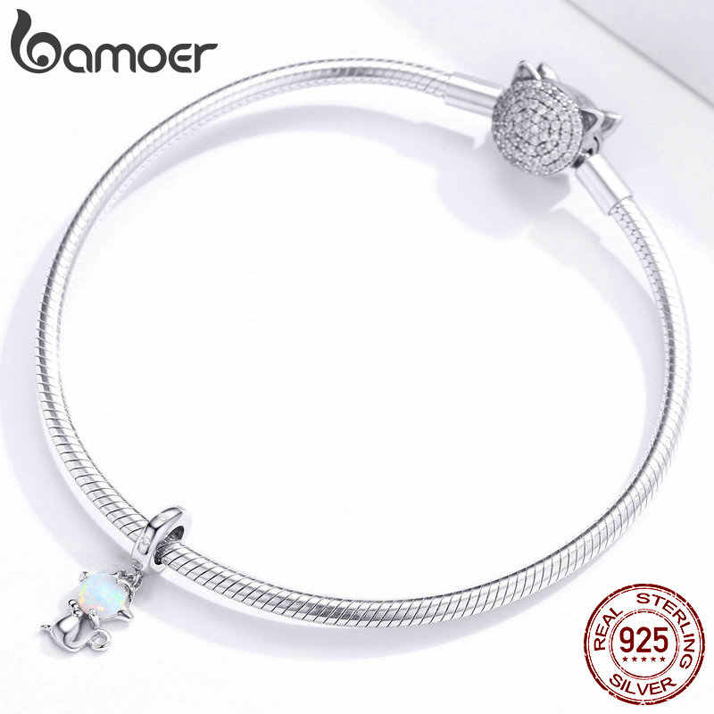 Bamoer hakiki 925 ayar gümüş Opal kedi hayvan kolye Charm fit orijinal bilezik veya kolye DIY takı yapımı BSC235