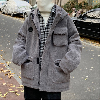 UYUK2019 Winter Coat Men Xinshi Thick And Cashmere Lamb Cargo Temperament Casual Fashion  Cotton  Men's Clothes  Homme