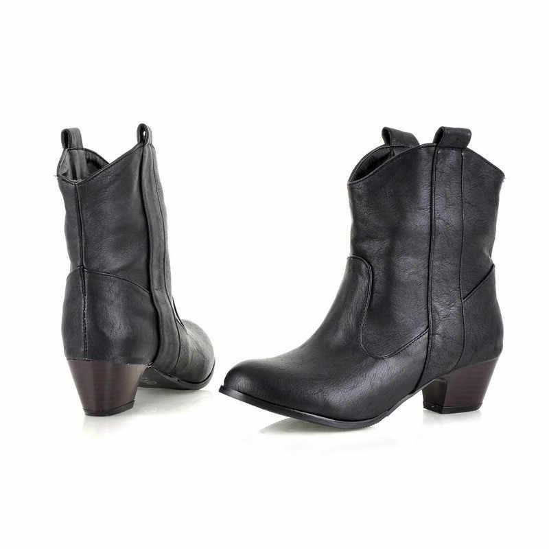 MEMUNIA 2020 toptan büyük boy 45 yarım çizmeler kadın yuvarlak ayak üzerinde kayma rahat ayakkabılar kovboy avrupa batı çizmeler kadın