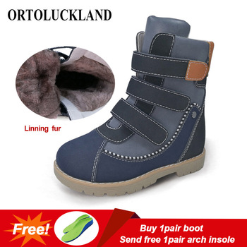 Ortoluckland New Kids Boys Boots Cow Leather warm Snow Shoes Children Winter Plush Knight Boots Girls Orthopedic Round Toe Shoes haraval handmade winter woman long boots luxury flock round toe soft heel shoes elegant casual warm retro buckle solid boots 289