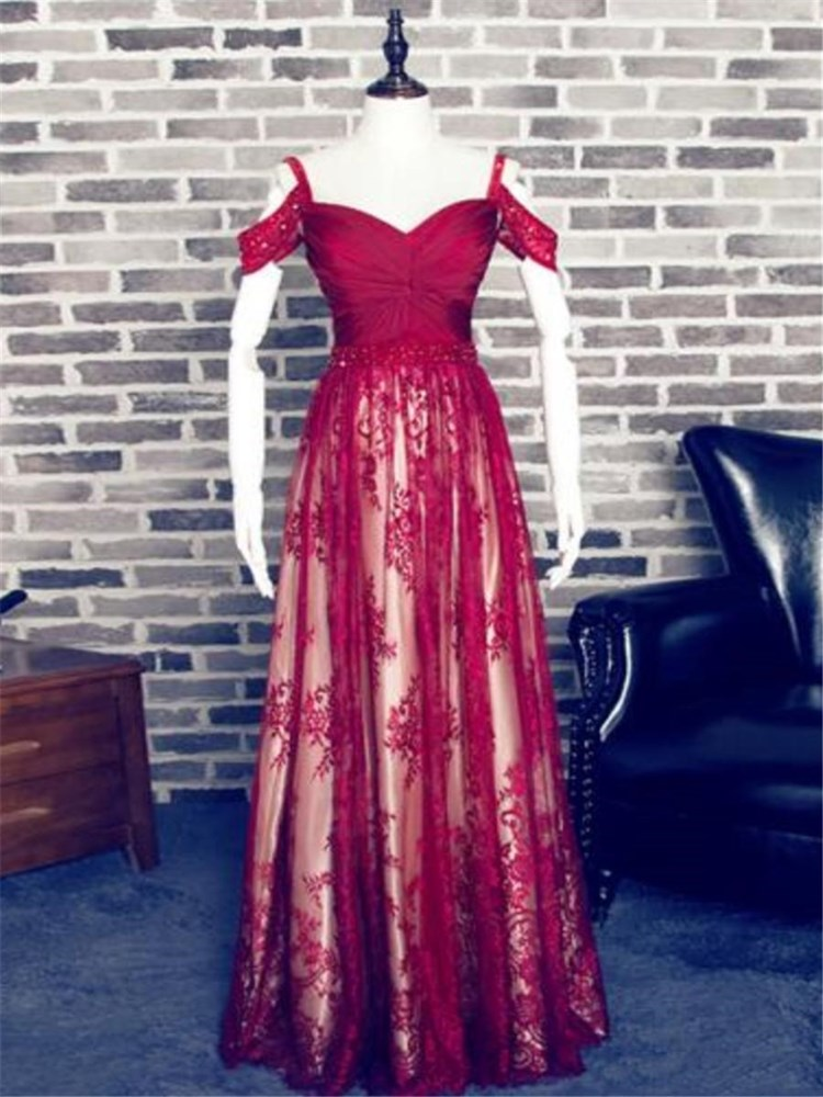 Charming Red A-line Sweetheart Spaghetti Straps Lace Prom Dress Off The Shoulder Long Burgundy Dress